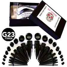 EAR GAUGING KIT-BLACK TITANIUM-36 PIECE- EAR STRETCHING KIT-EAR TAPER KIT-