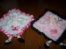 NEW Kyle and Deena Pink or White Ballerina Bear Plush Security Blanket 13 x 13