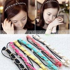 Grils Chiffon Gold Metal Chain Elastic Colorful Ribbon Fine Headband Hair Band
