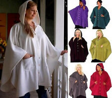 @K832 FLEECE COAT PONCHO RUANA TOP HOODED BUTTONS LADIES FASHION MADE TO ORDER