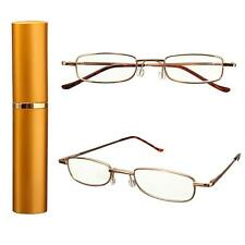 Slim Reading Glasses in Plastic/Aluminum Pen Tube with Golden Case Eyeglasses