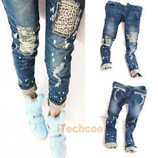Fashion Leopard Slim Fit Hole Pencil Casual Women Ladies' Jeans Pants #T1K