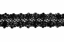 """Unotrim 2.25"""" Sheer Organza Embroidered Black Ribbon Trim Bead Sequins By Yard"""