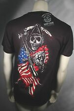 SONS OF ANARCHY SOA 2 SIDED AMERICAN FLAG REAPER SAMCRO BIKER T SHIRT S-3XL
