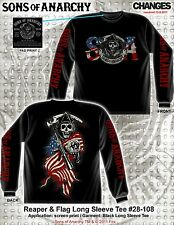 SONS OF ANARCHY AMERICAN FLAG PATRIOTIC REAPER BIKER LONG SLEEVE T SHIRT S-3XL