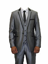 MENS DESIGNER SELF COLOURED STRIPED SILVER GREY THREE PIECE SUIT (MAL)