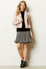 NWT ANTHROPOLOGIE by ELEVENSES RUFFLED PINK LEATHER MOTO JACKET