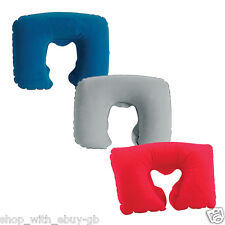INFLATABLE TRAVEL NECK PILLOW - Soft FLIGHT REST/SUPPORT CUSHION HEAD & NECK