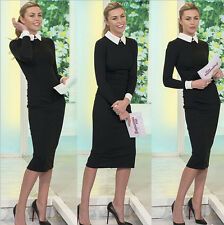 Women Office Elegant Formal Cocktail Stretch Turn Collar Pencil Dress USFT