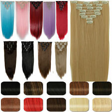 8Pcs Long Curly Wavy Straight Full head clip in on hair extensions 30 Colors US8
