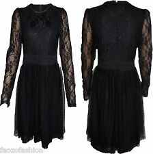 Women's Floral Lace Skater Prom Tunic Stretch Bodycon Cocktail Sexy Party Dress