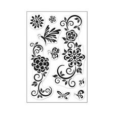 Hero Arts NEW NIP Clear Stencil Art Floral 4x6 Photopolymer Acrylic stamp set