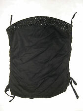 Exquz Rhinestone Sleeveless Corset Type Tube Top