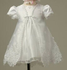 Infant Baby Girls White Baptism Christening Dress Dedication Gown Prom Wedding *