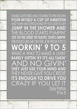 9 to 5 - Dolly Parton Word Wall Art Typography Words Print Lyric Lyrics Canvas