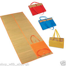 Large Straw Summer Holiday Beach Mat Bag & Pocket - Folds up Carry Handle Pool