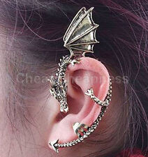 Gothic Punk Metal Vintage Style Dragon Bite Ear Cuff Wrap Clip Earring Bronze