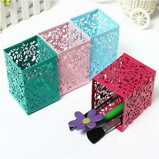 Case Rose Flower Square Pen Pencil Mesh Holder Organizer Container Cosmetic