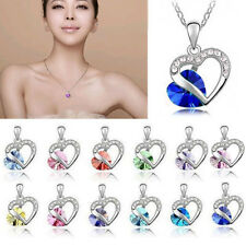 New Fashion Heart Crystal Rhinestone Silver Plated Chain Pendant Necklace charm