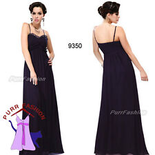 Purple Spaghetti Ruffles Strap Chiffon Maxi Evening Long Bridesmaid Dress 8-18