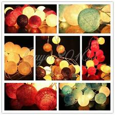 20 Cotton Ball String Light LED Patio Christmas Fairy Party Wedding Decor