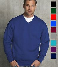Russell Mens V Neck Sweatshirt Mans Plain Sweat Top Jumper Sweater S-XXL 3XL New