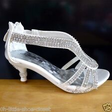 White Pageant Crowning Flower Girl Dress Dance Sandal Shoes Youth Size 13, 1