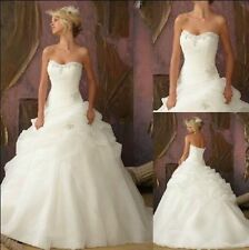 Stock White/Ivory Wedding Dress Bridal Gown Bridesmaid size:6 8 10 12 14 16 18