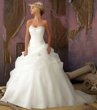 UK SELLER Custom Made Organza Embellished Ball Gown Bridal Gown Wedding Dress