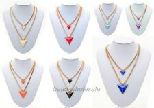 New Fashion Lady's Gold Plated Chain Triangle Double-Deck Necklace Findings