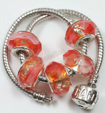 5pcs Glass Spacer Murano Big Hole Lampwork Beads Fit European Charm Bracelet