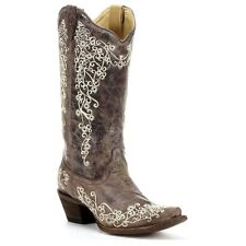 Corral Distressed Brown with Bone Embroidery Boots A1094 NIB New