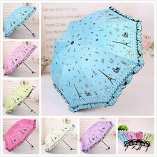 New Windproof Princess Super Anti UV Parasol Sun/Rain 3 Folded Umbrella 6 colors