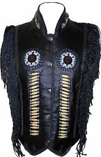 Ladies Indian Western Style Fringe Braided Leather Vest with Beads Studs Wood