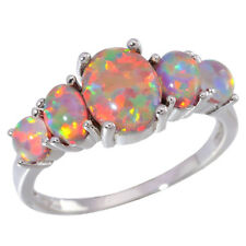 2014 ! Orange Fire Opal Women Jewelry Gemstone Silver Ring Size 7 / 8 / 9 OJ5458