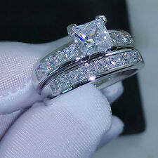 Valueable Princess Cut Topaz Cz 10KT White Gold Filled Wedding Ring Set Sz 5-11