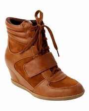 WOMENS TAN VELCRO LACE UP WEDGE HI HIGH TOP TRAINERS / BOOTS LADIES UK SIZE 3-8