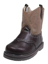 Toddler Country Western Rodeo Cowboy Flexible Brown Boots Velcro Sides
