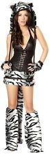 Furry White Tiger Corset and Skirt Sexy Costume by J Valentine - NEW