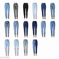 MOM denim jeans high waist with tapered leg and turn up detail cotton mix