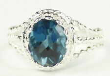 SR070, 9x7mm London Blue Topaz, 925 Sterling Silver Ring