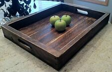 large solid wood wine serving ottoman tray 22 x 16