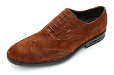 Clarks Mens Formal Brogue Waterproof Shoes Fall Hard GTX Walnut Suede