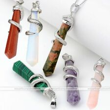 Healing Point Chakra Natural Gem Stone Bead Snake Pendulum Pendant For Necklace