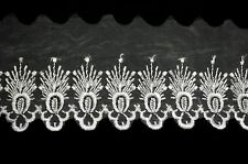 """Unotrim 3.25"""" Embroidered Sheer Organza Lace Trim with Scalloped Edge By Yardage"""