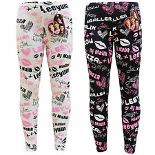 Girls One Direction Leggings Unofficial Signature Pink Black White 7-13 Years