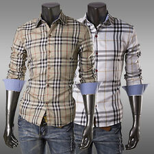 High Quality~SEXY Mens Stylish Casual Long Sleeve Dress Grid Slim T-Shirts XS~L