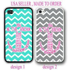 PINK TEAL GREY CHEVRON YOU'LL BE THE ANCHOR MONOGRAM CASE FOR IPHONE 6 4S 5 S 5C