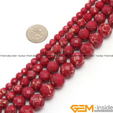 """Red Crazy Lace Agate Gemstone Faceted Round Beads For Jewelry Making Strand 15"""""""