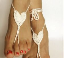 LADIES CROCHET HEART BLACK OR WHITE BAREFOOT SANDALS,HOLIDAY.PARTY